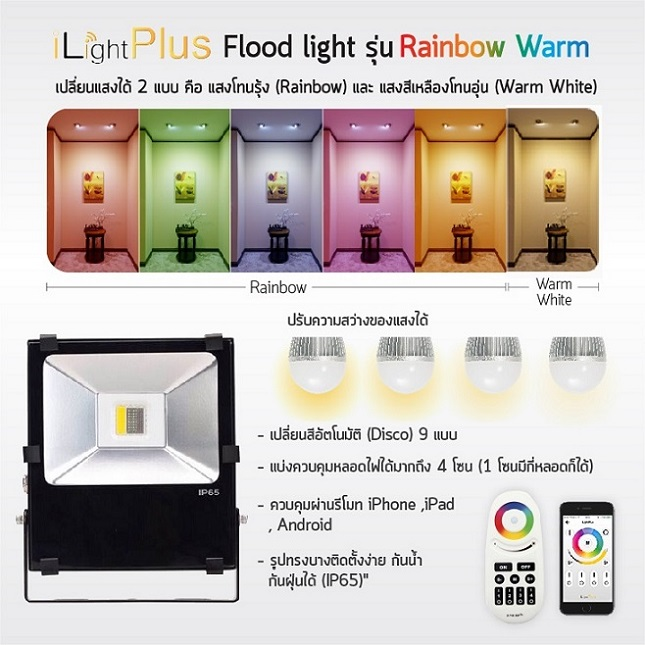 LED Flood Light รุ่น Rainbow Warm 90W